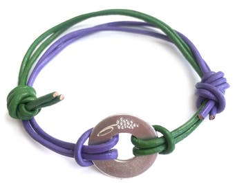 HYACINTH fervour and rashness- flower sign bracelet or necklace- handmade sterling silver 925 pendant on leather cord or chain
