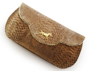 SALE  Beige and gold clutch, Evening bag, golden snake texture leather purse