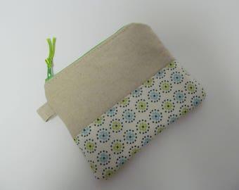 """Zipper Pouch/4""""x5""""/Linen x Flower x Green Zipper"""