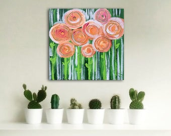 APRiL original abstract painting by Linnea Heide 12x12 acrylic on canvas small painting orange green flowers spring garden flower bouquet