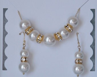 Swarovski Pearl Necklace and Earrings, Bridal Jewelry Set, Gold Filled, Bride Jewelry, Bridesmaid Gift
