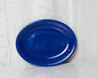 Fiesta ware cobalt blue vintage oval platter