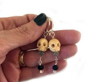 Skull Earrings Swarovski Crystal Dangles Goth