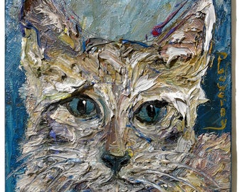Oil Paint on Stretched Canvas of 16 by 12 by 3/4 in. / Original oil painting vintage art abstract cat kitten animal wildlife pet modern