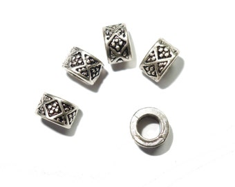 4 Silver aztec dreadlock european dread beads