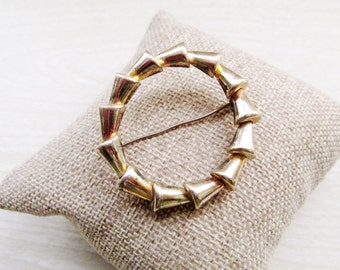 Vintage RALEIGH STERLING Circle Pin, Art Moderne, Gold Wash, Raleigh, 1940s