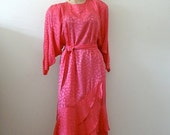 ON SALE 1980s Hot Pink Silk Dress - retro cocktail dress - batwing sleeve belted shift