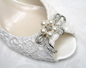Wedding Shoes - Lace Peep Toe Pump- Pearls & Crystal Bow Brooch- Accessories- Women's Bridal Shoes PBP2.25 - Pink2Blue