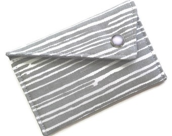 Business Card Case Personalized Card Holder Wallet - Grey White Horizontal Stripes