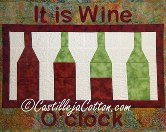 Wine O'clock Wall Quilt, 4998-0, wine Wall hanging, wine table runner