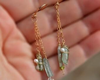 Long Roman Glass Earrings Gold Filled Earrings Feminine Pearl Chain Earrings Gold Filled Jewelry Israel Roman Glass Jewelry  Free Shipping
