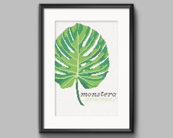 DIY Monstera tropical plant / embroidery Cross Stitch .pdf / Instant Download