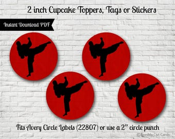 "Kicking It 2"" Printable Treat Toppers or Labels"