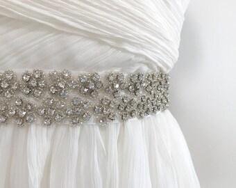 SAMPLE Sale - floral bridal sash, floral rhinestone wedding belt, crystal wedding sash, crystal bridal sash MAIA