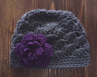 Girls Crochet Hat, Newborn Girl Hat, Gray and Dark Purple Hat, Baby Girl Hat, Newborn Photography Prop, Girls Gray Hat, Baby Girl Beanie