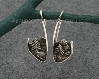 SCENIC EARRINGS- Mountains, River and Tall Pines, in sterling silver