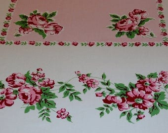 """Pretty 1950s Vintage Cotton Roses Tablecloth Pink, Red, Green  52 1/2"""" x 62""""  Excellent condition"""