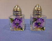 Hand Painted Salt and Pepper Shakers with Purple Pansies