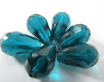 6 Teal Blue Green 14 x 10mm Faceted Chinese Crystal Teardrop Jewelry beads