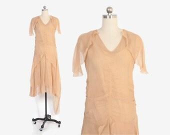 Vintage 20s Silk DRESS / 1920s Nude Peach Silk Georgette Draped Party Dress XS