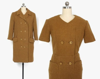 Vintage 60s NINA RICCI SET / 1960s Designer Wool Tailored Dress & Jacket 2 Piece Set S