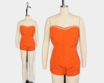 Vintage 50s Strapless Swimsuit / 1950s Metallic Gold Trim Pin-Up Boy Leg Bathing Suit L