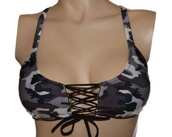 Gray Camouflage - Lace Up Sport Top