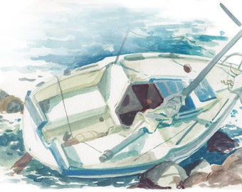 English Bay Shipwreck I- mini painting
