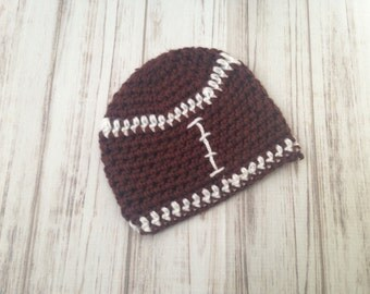 Football Hat, Fits 0 to 3 months, Ready To ship, winter hat, photography prop, football hat, baby shower gift, newborn hat, toddler hat