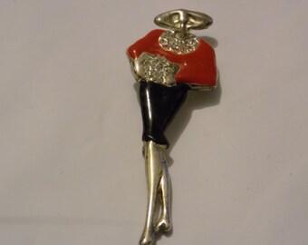 """Vintage brooch, """"Flapper"""" brooch, 1940s brooch, enamel brooch, crystal brooch, retro brooch"""
