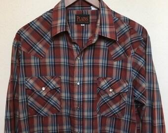 "Vintage plaid western shirt rust gold metallic, Plains long sleeve, pearl snap button, Southwestern, Rockabilly retro, men size L large 46"""