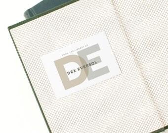 Monogrammed Bookplates, Personalized Book Label // BOLD MONOGRAM