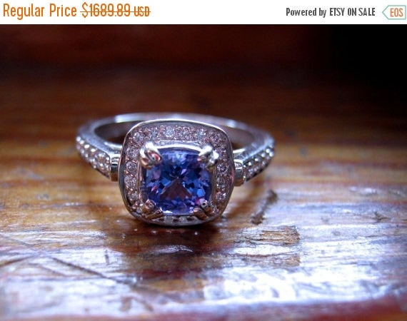 MothersDaySale Handmade Engagement Ring Genuine Tanzanite Diamonds 14k White Gold Fine Jewelry Custom 1/2 5 6 7 8 9 Purple Blue Aqua