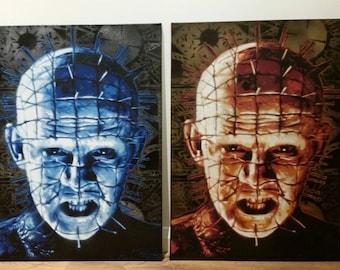 Pinhead Hellraiser monster classic horror movies films spray paint on canvas stencil art