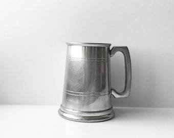 Traditional Two Line Pewter Mug English Pewter Pint Tankard Sheffield Glass Bottom Beer Ale Stein Made In England Vintage Barware