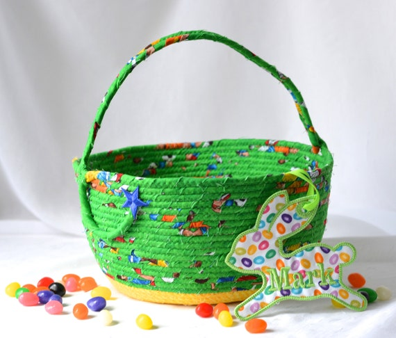 Sale.. Green Easter Basket, Handmade Green Easter Bucket, Cute Toy Storage Bin, Lego Storage Bin, Crayon Holder, Fun Easter Egg Hunt Bag