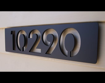 Custom Modern Floating House Numbers in Powder Coated Aluminum