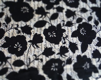 1/2 yard Michael Miller Floral Script d#cx4597  black on tan