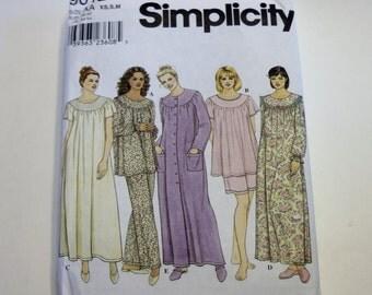 Pajama Pattern Simplicity 9012: Misses' Sleepwear Sizes XS,S,M UNCUT - Nightgown Pattern, Sewing Pattern
