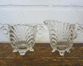 Cambridge Caprice Pattern Clear Pressed Glass Creamer and Sugar Bowl