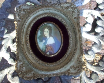 "1940's Vintage Cameo Creation Portrait Victorian Style Ornate Antique Gold Rustic Patina Frame Plaque 8"" x 6"""