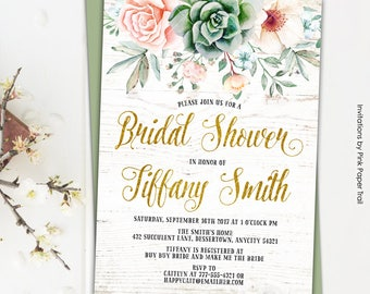 Bridal Shower Invitation, Floral Succulent Boho Chic Bridal Shower Invitation, Succulents Protea Roses Anemone Rustic Printable Invitation