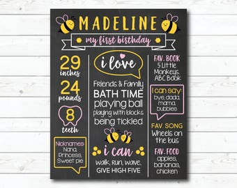 First Birthday Chalkboard, Bee Birthday Party, Bumble Bee Printable Poster Sign, 1st Birthday Honey Bee Chalkboard, Spring Summer Party Pink