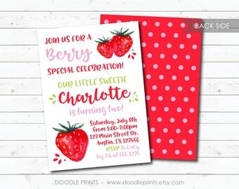 Strawberry Invitation, Strawberry Birthday Party Invitation, Berry Girl Polka Dot Printable Invitation, Fruits Summer Party Invite 5x7 4x6