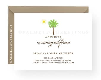 "PRINTED - Set of 12 - A2, 4.25"" x 5.5"" Palm Tree and Sun New Address Cards, A New Home - Customized for your State, Island, Country, Moving"