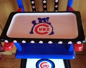 Beautiful Chicago Cubs hand painted vintage wood high chair -  One of a kind heirloom!