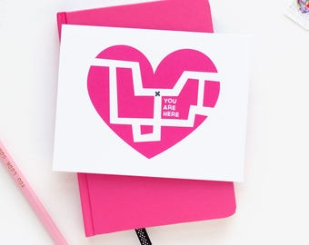 Love Greeting Card | Map of My Heart | Love + Friendship | Valentine's Day | Pink
