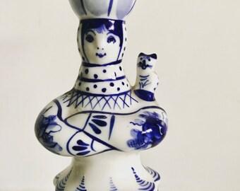 Gzhel Porcelain Russian Girl Candleholder