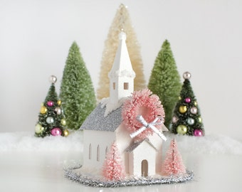 Putz House Christmas Ornament Church Glitter House Vintage Style Christmas Decoration