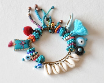 Evil Eye Bangle,  Boho Shell Bracelet,  Bohemian Tassel Bracelet,  Talisman Ethnic Bracelet,  Beaded Chaolite Bangle,  Free Shipping
